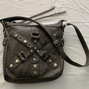 Gray Studded Crossbody Bag